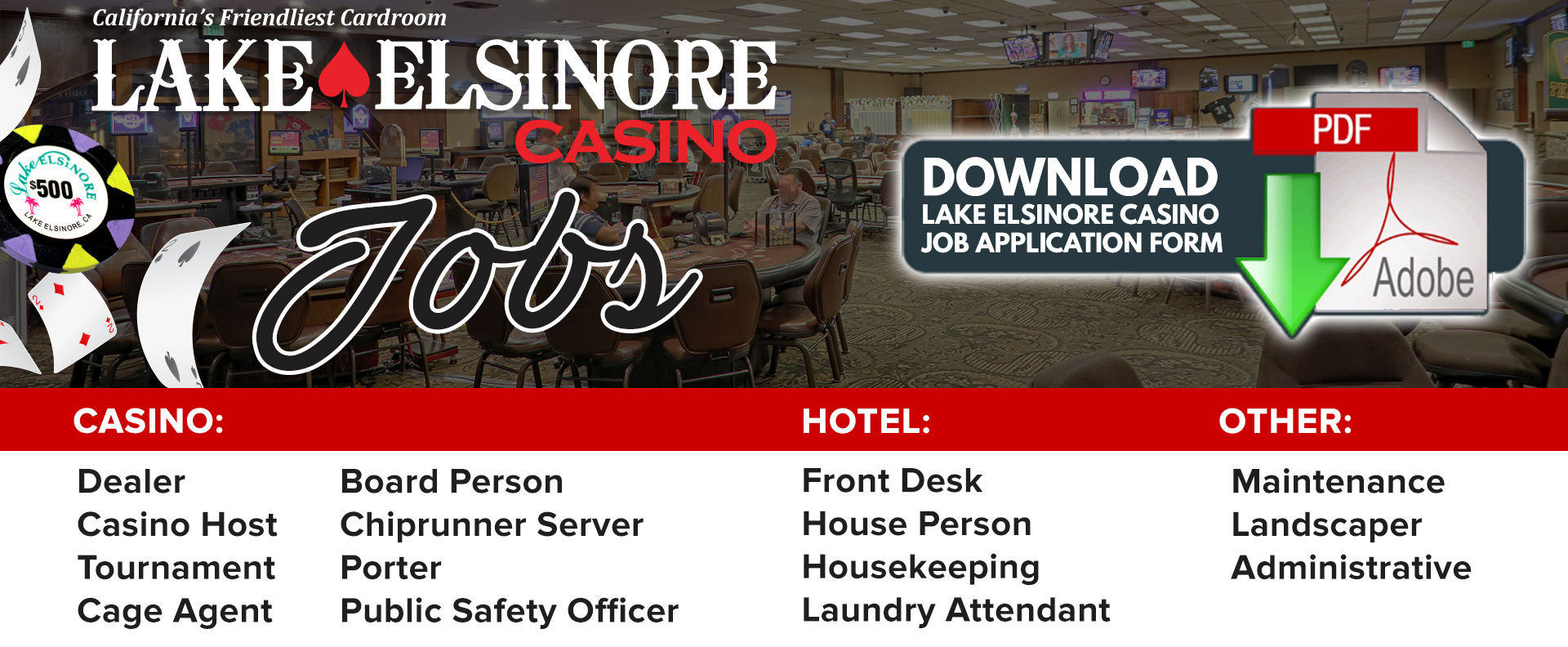 Careers | Lake Elsinore Casino & Poker Room